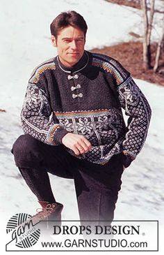 aig no et - DROPS Sweater in Karisma Superwash with textured yoke and socks. Nordic Sweater, Ski Sweater, Knit Sweaters, Crochet Men, Drops Design, Fair Isle Knitting, Pulls, Free Pattern, Knitwear