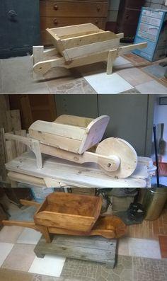 DIY wooden wheelbarrow