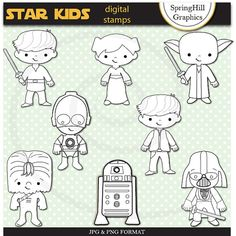 Instant Download Star Kids Digital Stamp Clip Art for Web Design, Card Making, Scrapbooking - Personal and Commerical Use