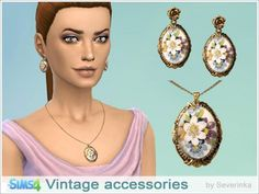 Vintage earrings and necklace at Sims by Severinka via Sims 4 Updates