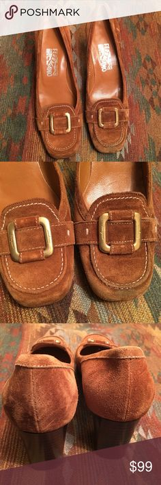 Auth. Salvatore Ferragamo Suede Shoes Brown sued leather with a medium heel.  Shoes are in excellent used condition.  Scuffing on front left shoe.  Only wore one time.  My lost is your gain.  Gentle used condition. Salvatore Ferragamo Shoes Heels