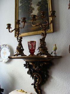 Paar Leuchter Kerzenhalter Kerzenleuchter Kandelaber Bronze Bacchus Putti Engel