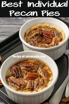 Apr 2020 - This classic Southern Pecan Pie is an incredibly delicious pie made with pecans that are baked in a syrupy filling and a flaky buttery crust. This small batch recipe makes two ramekin pies and is a great and impressive dessert for two. Single Serve Meals, Single Serve Desserts, Single Serving Recipes, Individual Desserts, Small Desserts, Pecan Pies, Best Pecan Pie, Apple Pies, Small Meals