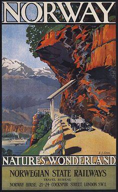 Norway, Nature's Wonderland. Vintage Norwegian State Railways travel poster, by AJ Green Travel Ads, Travel Photos, Vintage Travel Posters, Vintage Postcards, Vintage Advertisements, Vintage Ads, Norway Nature, Photo Vintage, Railway Posters
