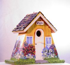 Unique Yellow Outdoor Birdhouse  Handcrafted by BirdhouseBlessings
