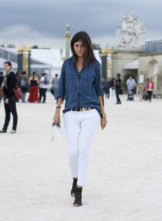 920ca83d951 Cool and stylish ways to wear white jeans in winter! Emmanuelle Alt
