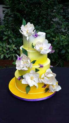 Ombre magnolia wedding cake by Mariya's Cakes & Cookies - http://cakesdecor.com/cakes/210858-ombre-magnolia-wedding-cake