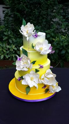 Ombre magnolia wedding cake by Mariya's Cakes & Cookies