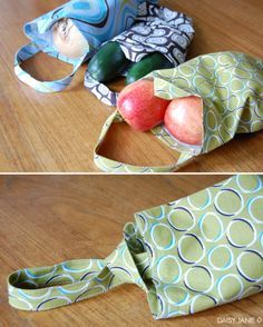 Fabric produce bags with a cute handle idea (free PDF pattern! Easy Sewing Projects, Sewing Hacks, Sewing Tutorials, Sewing Crafts, Sewing Tips, Knitting Projects, Diy Sac, Produce Bags, Reusable Grocery Bags