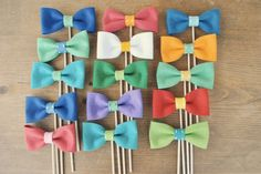 Set of 6 Bow Ties on a Stick // Wedding Photo Props  // Soft Felt // Wedding Photo Booth Props. $24.00, via Etsy.