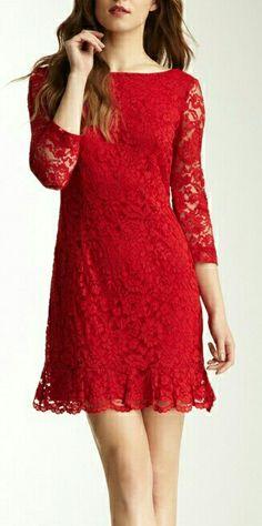 scarlet red lace dress