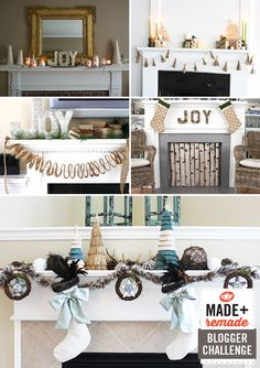 5 bloggers. 1 challenge: Design the HGTV Holiday House mantel! Which one is your favorite? >> http://blog.diynetwork.com/maderemade/2013/10/02/blogger-challenge-decorate-the-hgtv-holiday-house-fireplace-mantel/?soc=pinterest