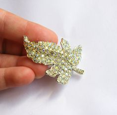 Vintage Opalescent Aurora Borealis Rhinestone Autumn Leaf Brooch/Pin - Vintage Jewelry by FembyDesign