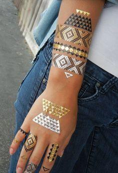 Water Transfer Metal Triangle Tattoo Sticker Body Art