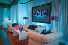 www.OrlandoDJ.com, Scott Watt Photography, A Chair Affair, AFR Event Furnishings, Cut The Cake, Raining Roses, Grand Bohemian Hotel Orlando, Blue Uplighting, Peacock Themed Wedding, Pink Rose Centerpieces