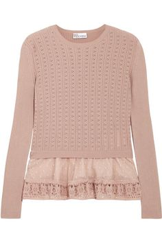 RED VALENTINO Point D'Esprit-Trimmed Ribbed Pointelle-Knit Cotton Sweater. #redvalentino #cloth #knitwear