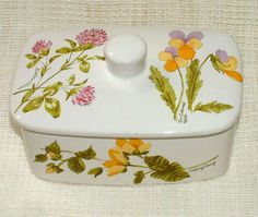 PALISSY Royal Worcester LIDDED BUTTER DISH Wild Flowers