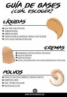 Tipos de bases Beauty And More, Beauty Make Up, Beauty Care, Beauty Hacks, Beauty Tips, Love Makeup, Makeup Inspo, Makeup Inspiration, Makeup Looks