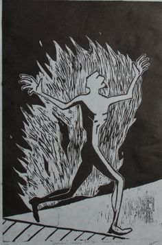 Spontaneous Combustion: Red Deer's Prevalent Concern Woodcut Print- Connor Mason