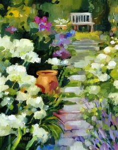 """Daily+Paintworks+-+""""White+Garden""""+-+Original+Fine+Art+for+Sale+-+©+Libby+Anderson"""