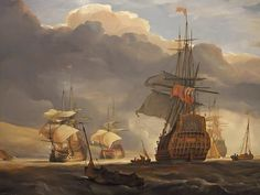"""""""A British Squadron of the Red off Torbay in the Time of Queen Anne,"""" by John Christian Schetky."""