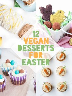 12 of the best vegan Easter desserts! Surprise your family with these plant-based, dairy-free and egg-free treats: Easter cupcakes, fruity peeps & more! Easter Cupcakes, Easter Desserts, Easter Recipes, Holiday Recipes, Easter Food, Easter Treats, Flower Cupcakes, Christmas Cupcakes, Spring Recipes