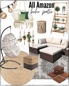 Backyard Patio Designs, Diy Patio, Wood Patio, Pavers Patio, Diy Porch, Patio Roof, Patio Chairs, Boho Chic, Patio Decorating Ideas On A Budget