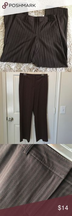 Apt. 9 Stretch Pinstripe Brown Slacks Pretty Poly/Rayon/Spandex Blend Slacks. Classy, when looking nice matters. Pinstripes look to be a stippled orange/yellow (or cream). Definitely a staple for your fall wardrobe! Apt. 9 Pants Trousers