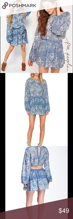✨ NEW FREE PEOPLE cutout boho mini dress festival Awesome brand new Free People dress with a cutout back and button closure in the back. Perfect to hide your bra but show a little skin at the small of your back at the same time. Voluminous sleeves give it an extra dramatic flare. Size M could fit a L as well. Free People Dresses Mini