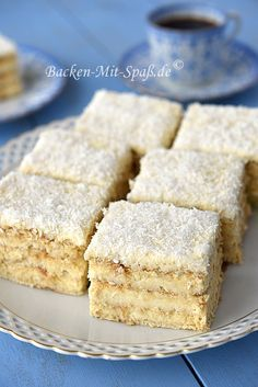 Biscuit au beurre avec noix de coco et pudding - Gebäck / Kuchen - Baking Recipes, Cake Recipes, Dessert Recipes, Food Cakes, 13 Desserts, Ice Cream Recipes, Cake Cookies, No Bake Cake, Baked Goods