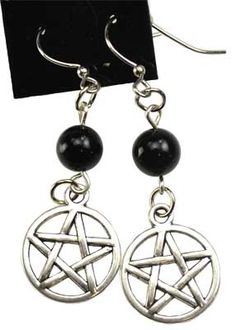 """Black Onyx Pentagram earrings   Hypo allergenic, surgical steel French hooks. Black Onyx, Pewter, Surgical Steel. Beads are 1/4"""", Charms are 1/2"""", Overall length is 2 1/8""""  $4.95"""