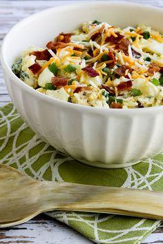 Low-Carb Loaded Cauliflower Mock Potato Salad found on KalynsKitchen.com