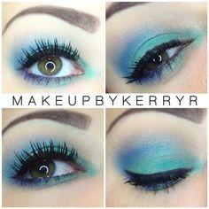 Tropical Ocean Inspired Makeup Look   Kerry Reddiar Professional Make-up Artist #makeup #creativemakeup #aqua #aquamakeup #Inglot #eyeshadow #blue #green