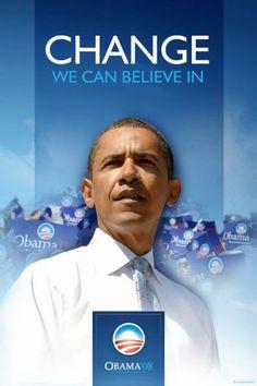Barack Obama (D) campaign poster, 2008.