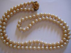 Vintage Glass Pearl Necklace Double String Knotted by PSSecondHand,