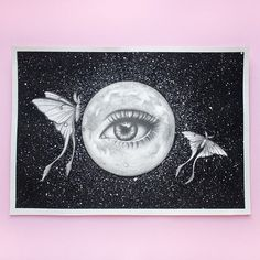 Original Illustration by Emma Ferguson. Graphite pencil on Arches watercolour paper. Arches Watercolor Paper, Watercolour, Realistic Pencil Drawings, Moon Illustration, Wren, Line Drawing, Fairy Tales, Stars, Sterne