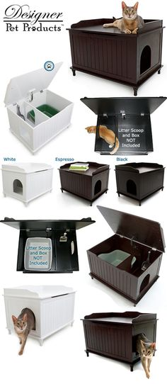 Designer Pet Products Catbox Litterbox; $189.95USD; sku DPP-CB01; available in black, white or expresso; ships worldwide from USA; at PuuttyPower.com