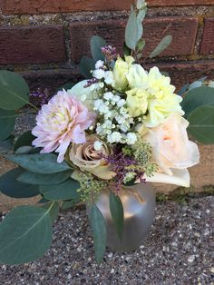 Loved it! Pinned it! A Blooming Envy Design! Wedding Bouquet designed with white and blush roses, white and blush dahlias, astrantia, baby's breath and eucalyptus.