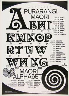 Purarangi: Maori Alphabet: Designer by Joseph Churchwood