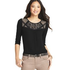 Lace Yoke 3/4 Sleeve Top | Loft