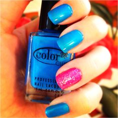 My electric blue (and pink) nails!