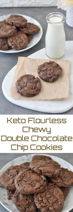 Keto Flourless Chewy Double Chocolate Chip Cookies Peace Love And Low Carb Via Peacelovelocarb Keto Desserts, Keto Snacks, Dessert Recipes, Keto Desert Recipes, Cookie Recipes, Dessert Ideas, Easy Keto Dessert, Keto Sweet Snacks, Atkins Desserts