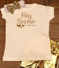 Big Sister Big Brother Shirts, Personalized Shirts, My Etsy Shop, T Shirts For Women, Trending Outfits, Gold, Shopping, Vintage, Fashion
