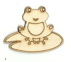 Frog on a Lillypad Laser Unfinished Laser Cut Wood Shape FRG341