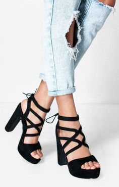 Ladies High Block Heel Platform Sandals Womens Caged Gladiator Lace Shoes Size