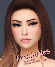 Face moles FM01• 11 swatches • Toddler – elder • Custom thumbnail • For males and females • Face paint & Tattoo category … for more information check out my blog katverse.com