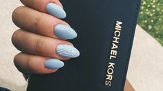 Baby Blue & White Nails....love the colors, not the nail shape.
