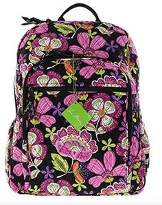 Amazon.com  Vera Bradley Campus Backpack with Solid Color Interior (Updated  Version) Baroque with Solid Black Interior  Shoes 51858dfb7b5f5