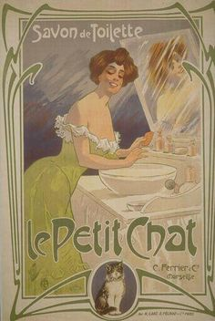 Lady Woman Cat Le Petit Chat Savon de Toilette Soap France French Vintage Poster Repro X Image Size Vintage Poster Reproduction. We have other sizes available Vintage French Posters, Pub Vintage, Vintage Advertising Posters, Vintage Cat, Vintage Labels, Vintage Advertisements, Vintage Images, Vintage Prints, French Vintage