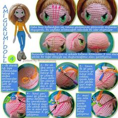 When I'm ready to put hair on my dolls, I have a great picture to look at. This is a good outline for hair placement. Crochet Dolls Free Patterns, Amigurumi Patterns, Amigurumi Doll, Crochet Designs, Doll Patterns, Crochet Toys, Free Crochet, Amigurumi Tutorial, Doll Hair
